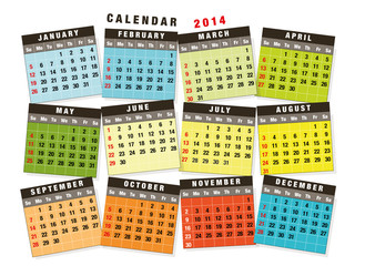 Fun stickers Calendar 2014 English