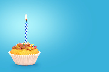 Birdhday cupcake with candle