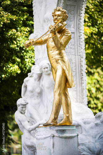 The Statue of Johann Strauss in stadtpark in Vienna, Austria