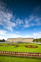 Wide panoramic view of Schonbrunn Palace in Vienna, Austria