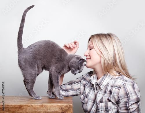 canvas print picture Frau und Katze