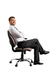successful man sitting on the office chair