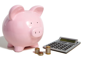 Pig bank and calculator