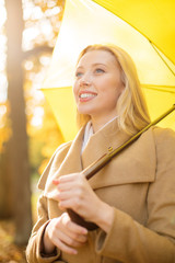 woman with yellow umbrella in the autumn park
