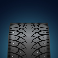 Winter tire front view vector background with copy space.