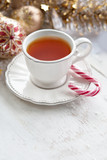 White Christmas tea cup