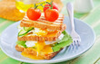 toasts with egg-poached