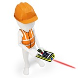 3d man surveyor with laser distance meter