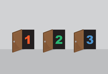 Three wooden opened doors numbered