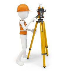 3d man surveyor with station ,hardhat and safety vest