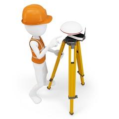 3d man surveyor with GPS station