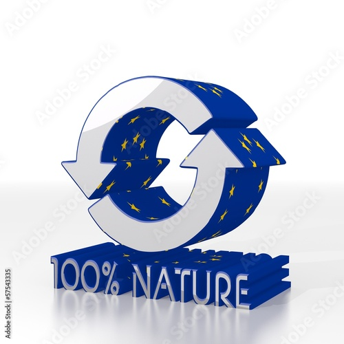 3d render of a european nature symbol  with eu flag pattern