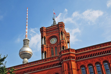 Berlino, municipio e torre della televisione di Alexanderplaz