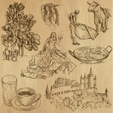 Fototapety traveling Spain - hand drawings into vector set 3