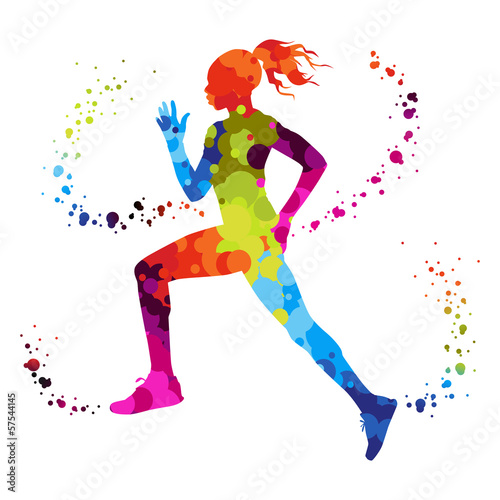 athletics running woman with colored dots