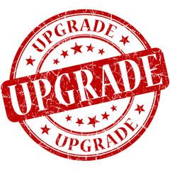 upgrade grunge round red scratched stamp