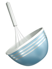 Blue bowl with a wire whisk.3D render.