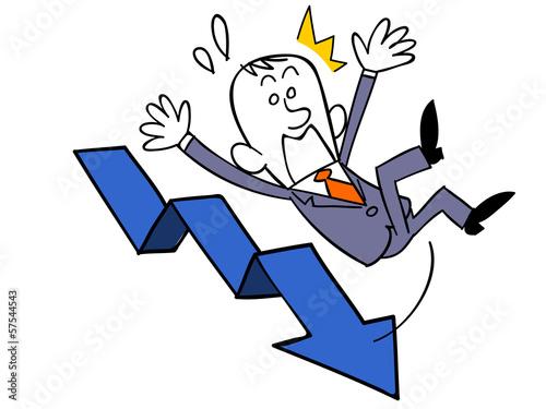 下降する矢印と転倒するビジネスマン