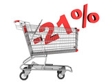 shopping cart with 21 percent discount isolated on white backgro