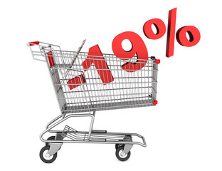 shopping cart with 19 percent discount isolated on white backgro