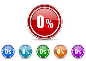 0 percent icon vector set