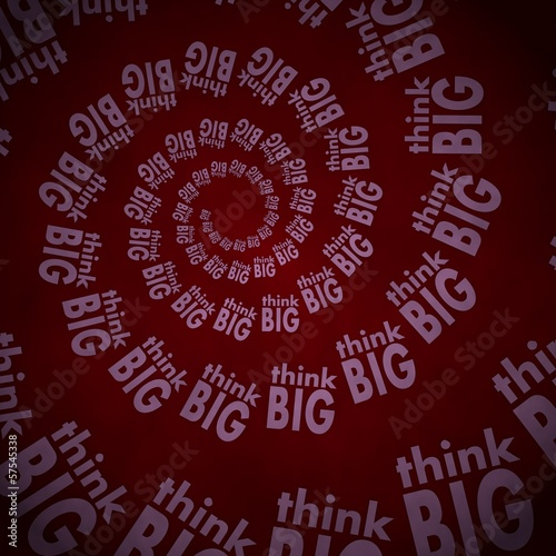 3d graphic of a vintage think big label  on vintage background