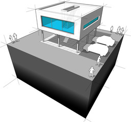 Diagram of a modern house/functionalistic villa