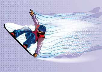 Jumping snowboarder. Motion in air