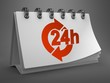 Desktop Calendar with Red 24 Hours Icon.