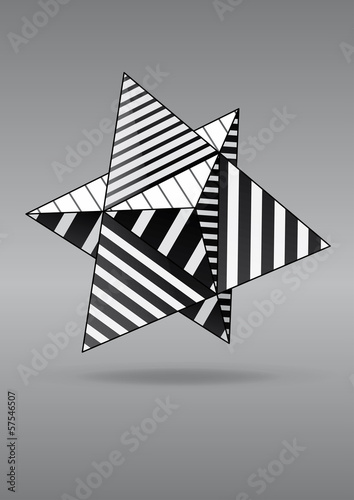 dual tetrahedron with black and white striped faces