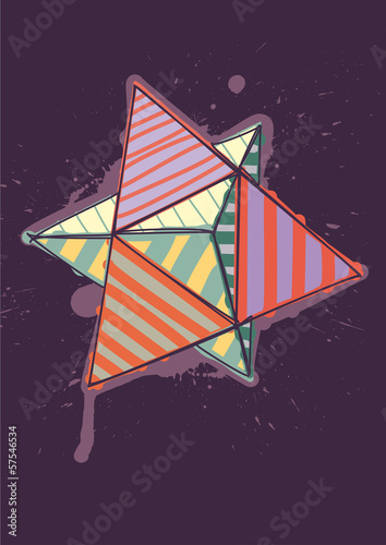 dual tetrahedron with hand drawn color hatching