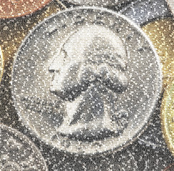 Dollar coin -  text mosaic overlay