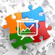 Flipchart Icon on Multicolor Puzzle.