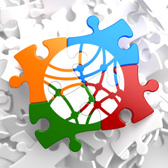 Social Network Icon on Multicolor Puzzle.