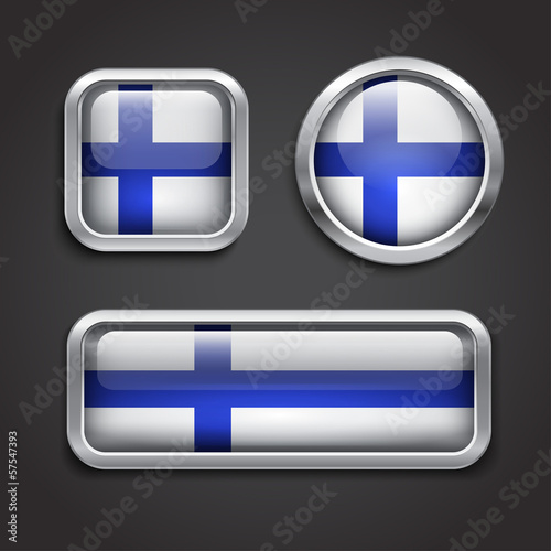 Finland  flag glass buttons