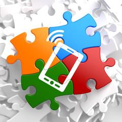 Smartphone Icon on Multicolor Puzzle.