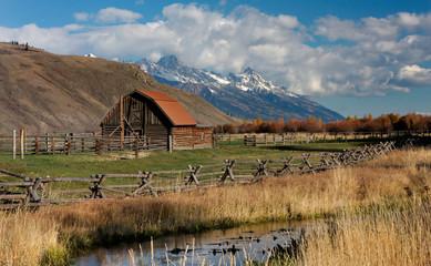 Barn and Tetons