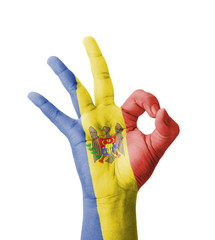 Hand making Ok sign, Moldova flag painted