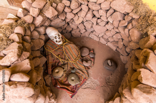 Embalmed mummy and skull in Peru. Bones at Chauchilla