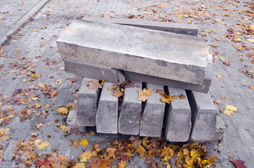 Paving concrete blocks in pile for  repair of  pavement