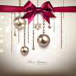 Elegant Christmas background with red bow and golden garland. Ve