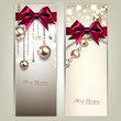 Elegant Christmas banners with golden baubles and red bows. Vect