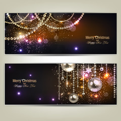 Set of Elegant Christmas banners with golden garland. Vector ill
