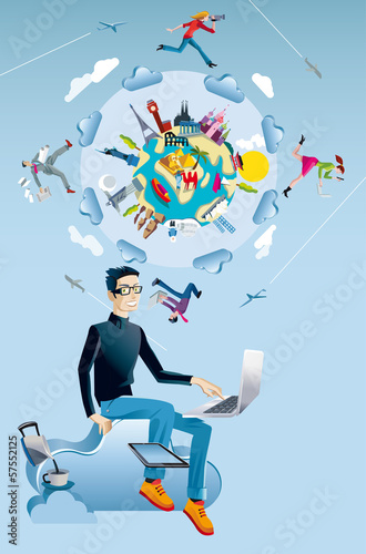Man with Computer and World Globe