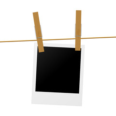 vector clothes peg hanging polaroid phorto frame