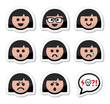 Girl or woman faces, avatar vector icons set