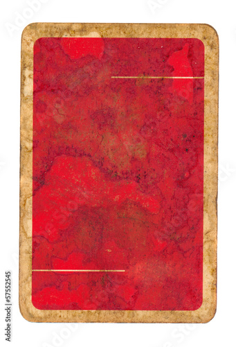 old  playing card paper red cover background isolated on white