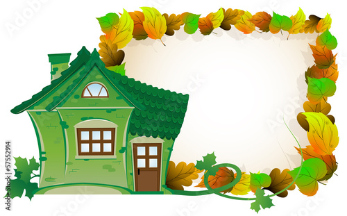 House on background of autumn leaves
