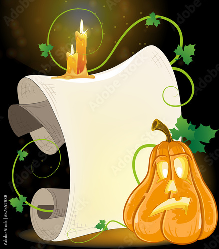 Jack o' Lantern, parchment and burning candles
