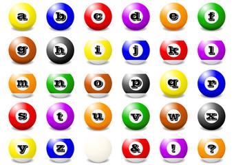 ビリヤードの球 アルファベット・小文字